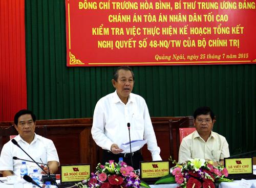Đoàn công tác Tòa án nhân dân tối cao làm việc tại tỉnh Quảng Ngãi